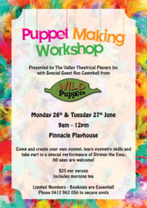Puppet Making Workshop hosted by The Valley Theatrical Playeres